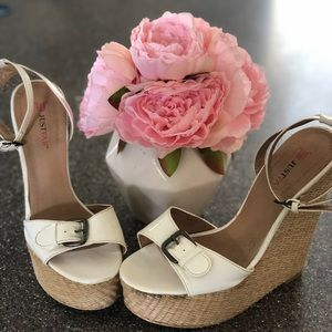 Super cute white strapped wedge